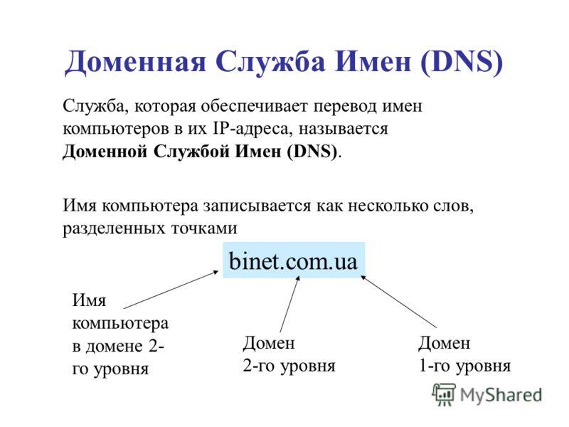 Доменная Служба Имен (DNS) Служба, которая обеспечивает перевод имен компьютеров в их IP-адреса, называется Доменной Службой Имен (DNS). Имя компьютера записывается как несколько слов, разделенных точками Имя компьютера в домене 2- го уровня binet.co