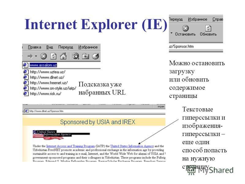 Подсказка уже набранных URL Можно остановить загрузку или обновить содержимое страницы Текстовые гиперссылки и изображения- гиперссылки – еще один способ попасть на нужную страницу Internet Explorer (IE)