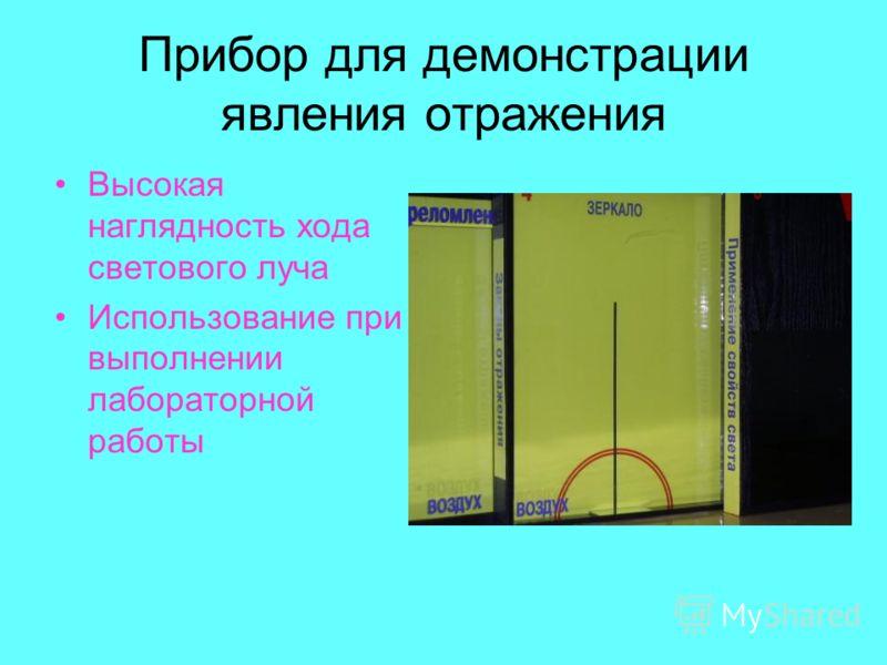 Прибор для демонстрации явления отражения Высокая наглядность хода светового луча Использование при выполнении лабораторной работы