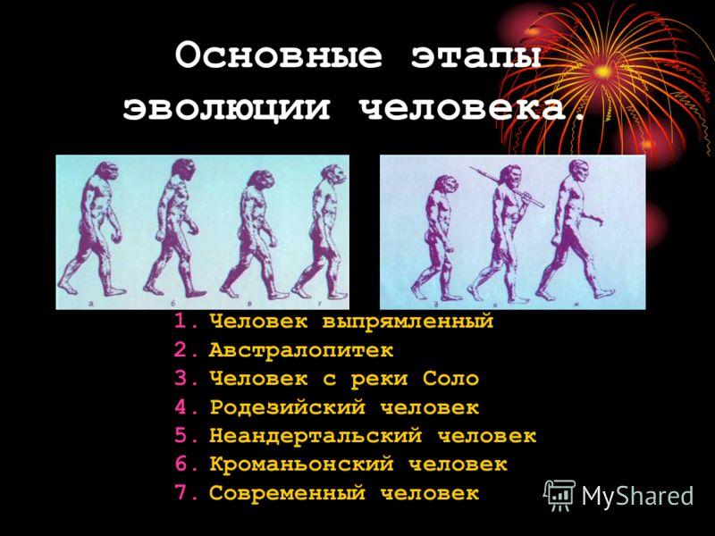 Основные этапы эволюции человека. 1.Человек выпрямленный 2.Австралопитек 3.Человек с реки Соло 4.Родезийский человек 5.Неандертальский человек 6.Кроманьонский человек 7.Современный человек