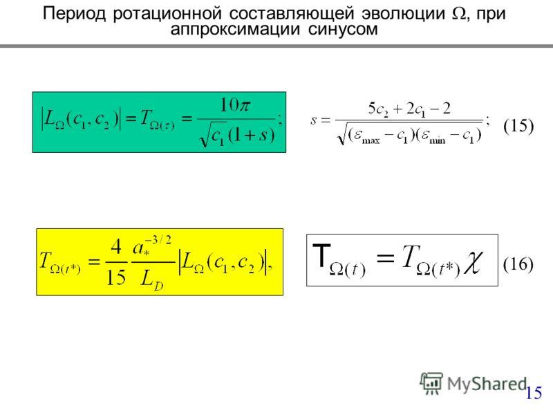 Период ротационной составляющей эволюции, при аппроксимации синусом 15 (15) (16)