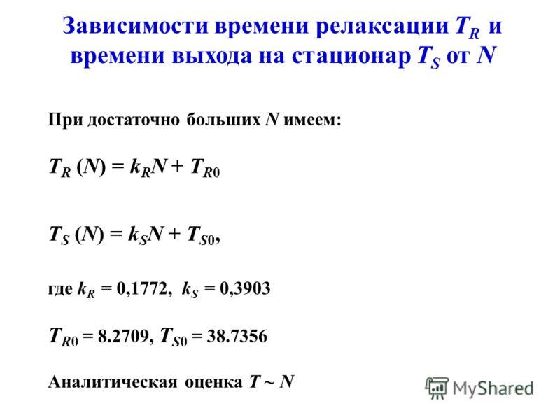 Зависимости времени релаксации T R и времени выхода на стационар T S от N При достаточно больших N имеем: T R (N) = k R N + T R0 T S (N) = k S N + T S0, где k R = 0,1772, k S = 0,3903 T R0 = 8.2709, T S0 = 38.7356 Аналитическая оценка T ~ N