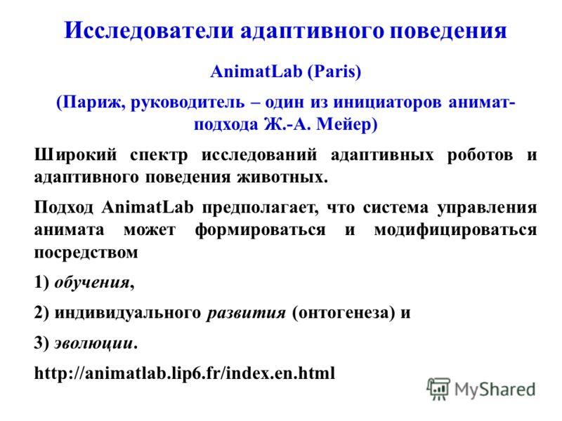 Исследователи адаптивного поведения AnimatLab (Paris) (Париж, руководитель – один из инициаторов анимат- подхода Ж.-А. Мейер) Широкий спектр исследований адаптивных роботов и адаптивного поведения животных. Подход AnimatLab предполагает, что система