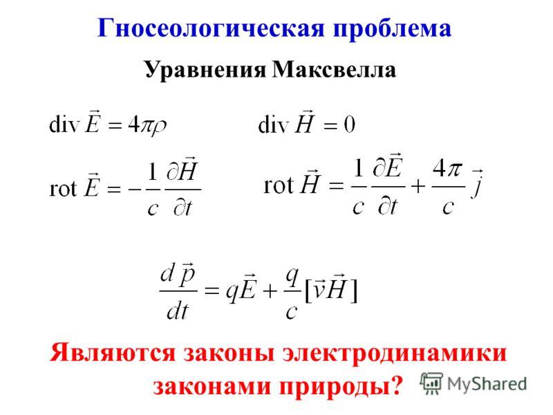Гносеологическая проблема Уравнения Максвелла Являются законы электродинамики законами природы?