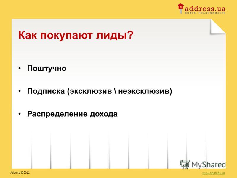 Поштучно Подписка (эксклюзив \ неэксклюзив) Распределение дохода Как покупают лиды? www.address.ua Address © 2011