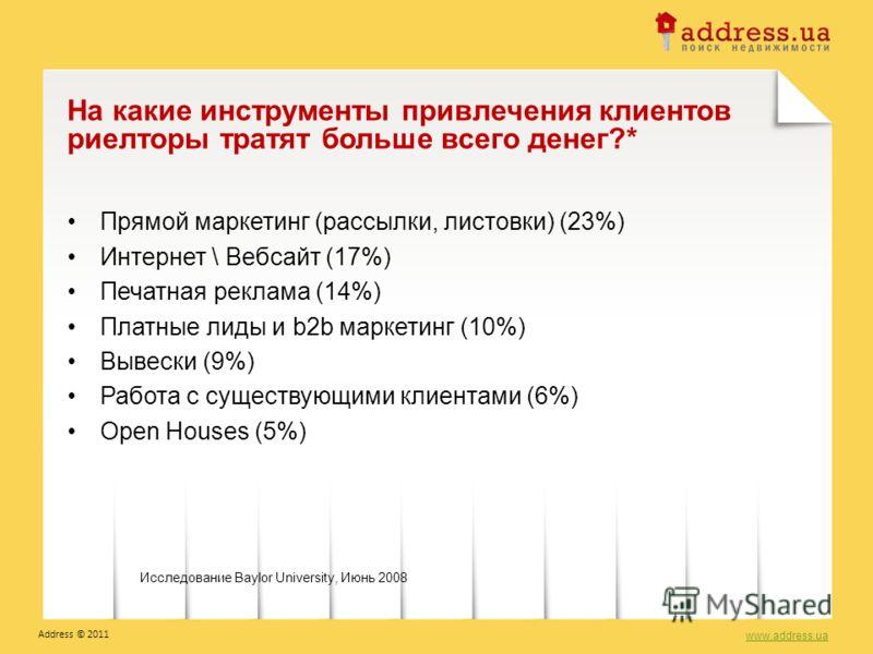 Прямой маркетинг (рассылки, листовки) (23%) Интернет \ Вебсайт (17%) Печатная реклама (14%) Платные лиды и b2b маркетинг (10%) Вывески (9%) Работа с существующими клиентами (6%) Open Houses (5%) На какие инструменты привлечения клиентов риелторы трат