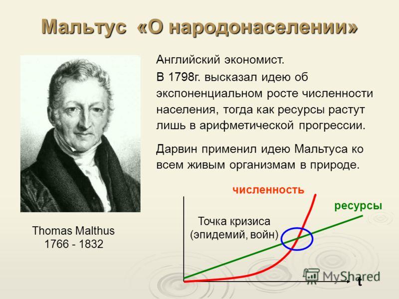 Мальтус «О народонаселении» Thomas Malthus 1766 - 1832 Английский экономист. В 1798г. высказал идею об экспоненциальном росте численности населения, тогда как ресурсы растут лишь в арифметической прогрессии. Дарвин применил идею Мальтуса ко всем живы