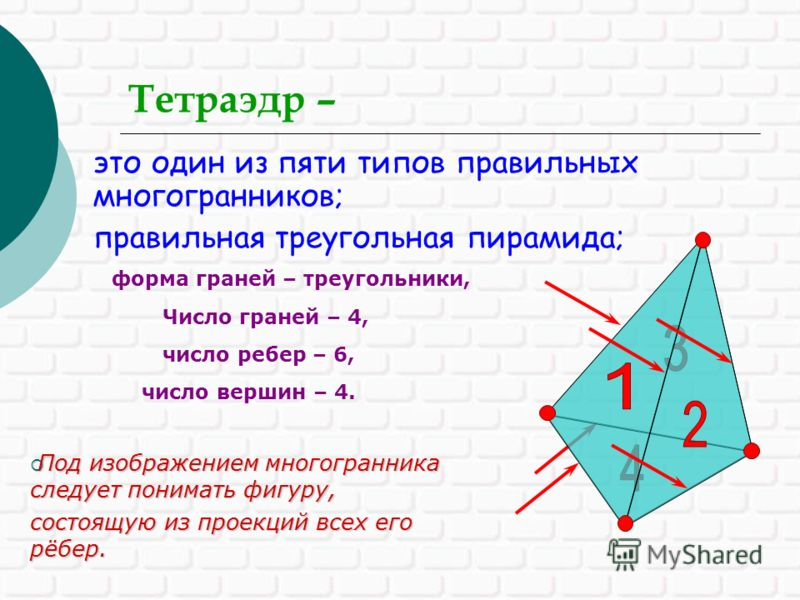 Тетраэдр – это один из пяти типов правильных многогранников; правильная треугольная пирамида; число вершин – 4. Под изображением многогранника следует понимать фигуру, Под изображением многогранника следует понимать фигуру, состоящую из проекций всех