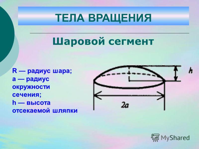 R радиус шара; а радиус окружности сечения; h высота отсекаемой шляпки Шаровой сегмент ТЕЛА ВРАЩЕНИЯ