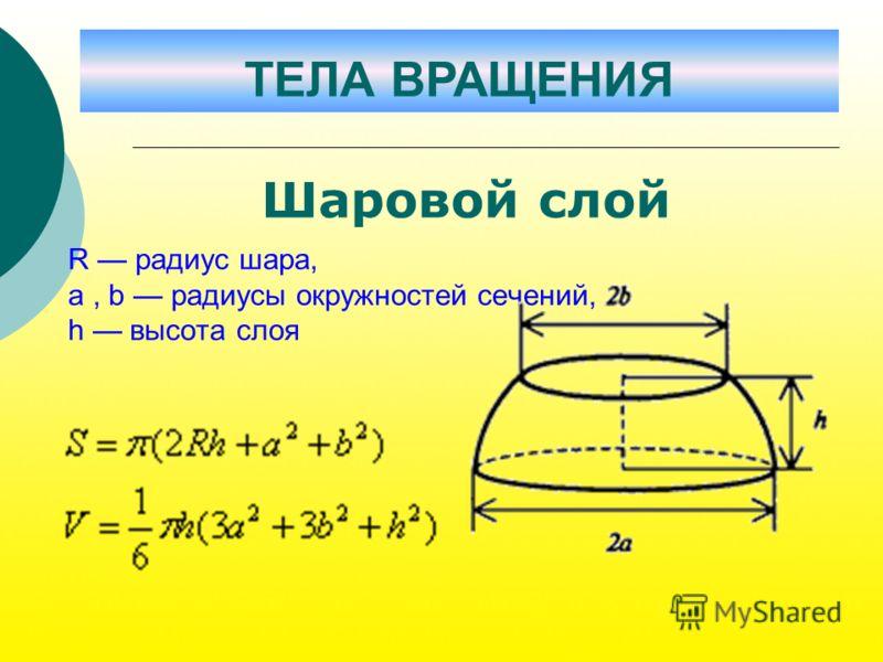 R радиус шара, a, b радиусы окружностей сечений, h высота слоя Шаровой слой ТЕЛА ВРАЩЕНИЯ