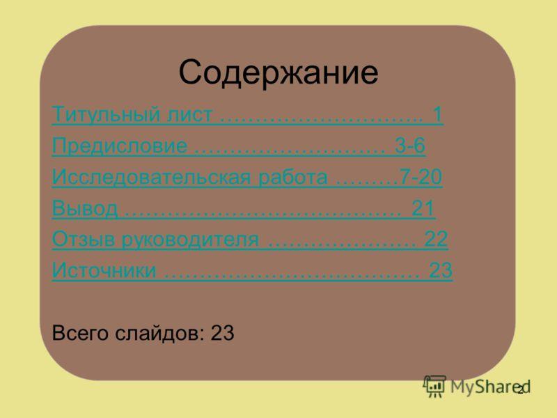 Содержание 2 Титульный лист ……………………….. 1 Предисловие ……………………… 3-6 Исследовательская работа ………7-20 Вывод ………………………………… 21 Отзыв руководителя ………………… 22 Источники ……………………………… 23 Всего слайдов: 23