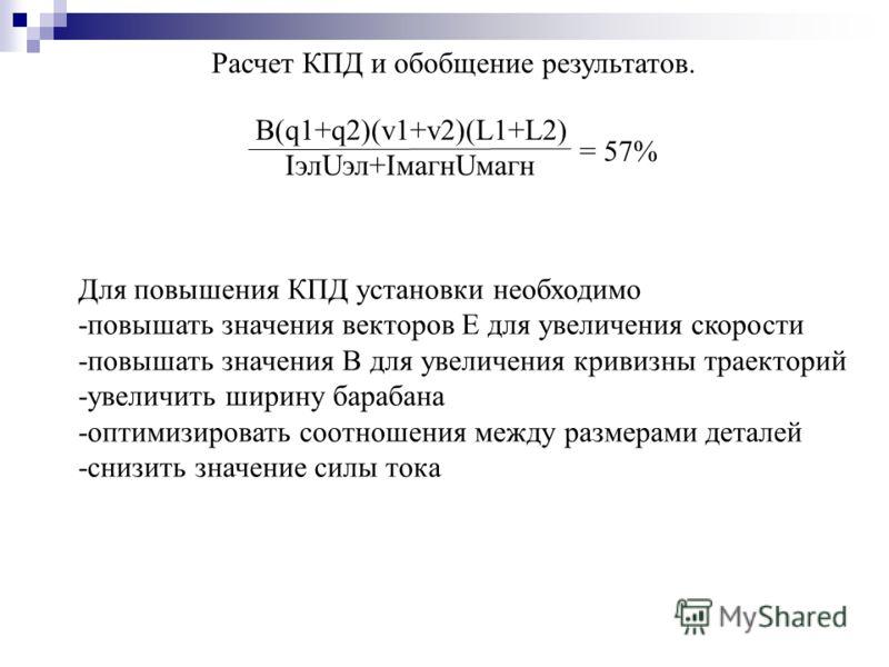 Расчет КПД и обобщение результатов. B(q1+q2)(v1+v2)(L1+L2) IэлUэл+IмагнUмагн = 57% Для повышения КПД установки необходимо -повышать значения векторов Е для увеличения скорости -повышать значения В для увеличения кривизны траекторий -увеличить ширину