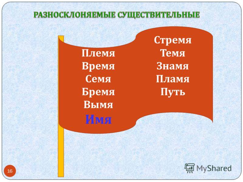 Племя Время Семя Бремя Вымя Имя Стремя Темя Знамя Пламя Путь 16