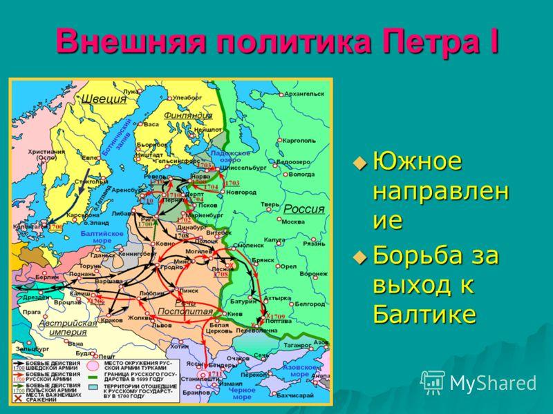 Внешняя политика Петра I Южное направлен ие Южное направлен ие Борьба за выход к Балтике Борьба за выход к Балтике