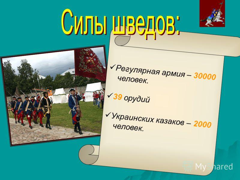 Регулярная армия – 30000 человек. 39 орудий Украинских казаков – 2000 человек.