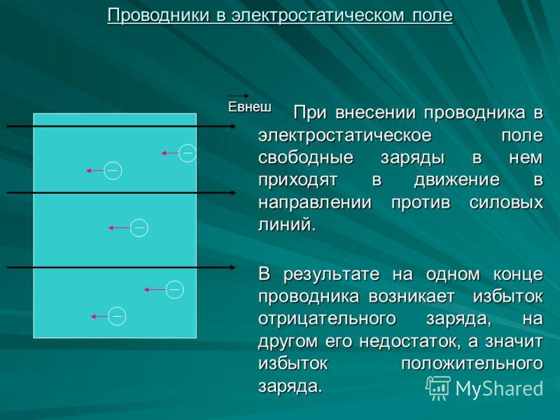 При внесении проводника в электростатическое поле свободные заряды в нем приходят в движение в направлении против силовых линий. В результате на одном конце проводника возникает избыток отрицательного заряда, на другом его недостаток, а значит избыто