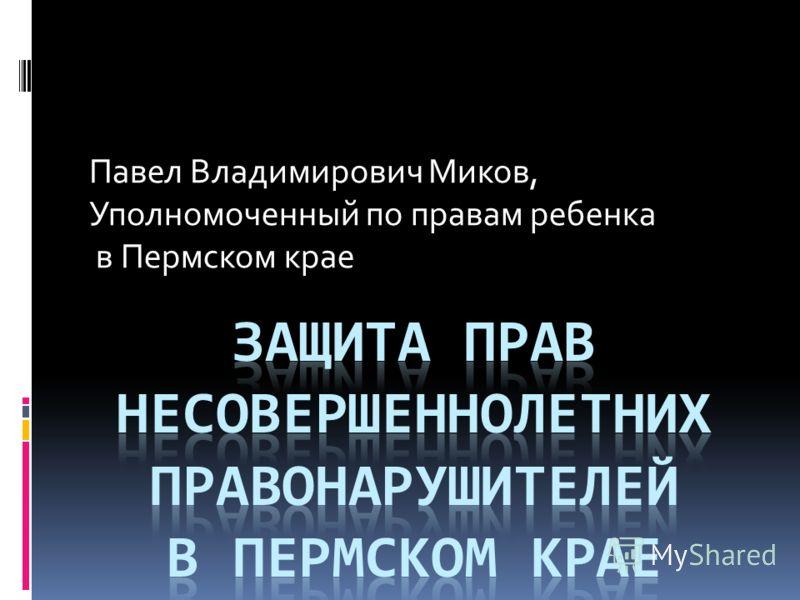 Павел Владимирович Миков, Уполномоченный по правам ребенка в Пермском крае
