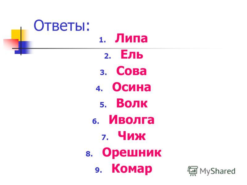 Ответы: 1. Липа 2. Ель 3. Сова 4. Осина 5. Волк 6. Иволга 7. Чиж 8. Орешник 9. Комар