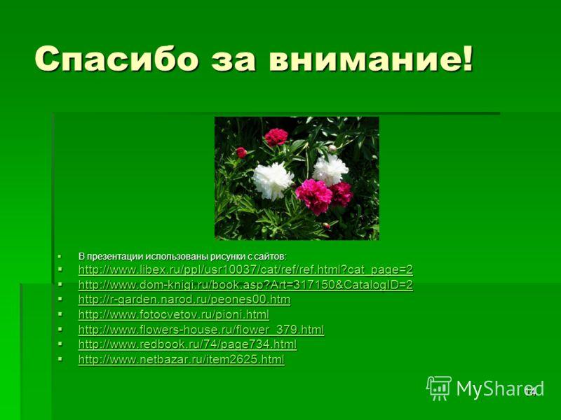 14 Спасибо за внимание! В презентации использованы рисунки с сайтов: В презентации использованы рисунки с сайтов: http://www.libex.ru/ppl/usr10037/cat/ref/ref.html?cat_page=2 http://www.libex.ru/ppl/usr10037/cat/ref/ref.html?cat_page=2 http://www.lib