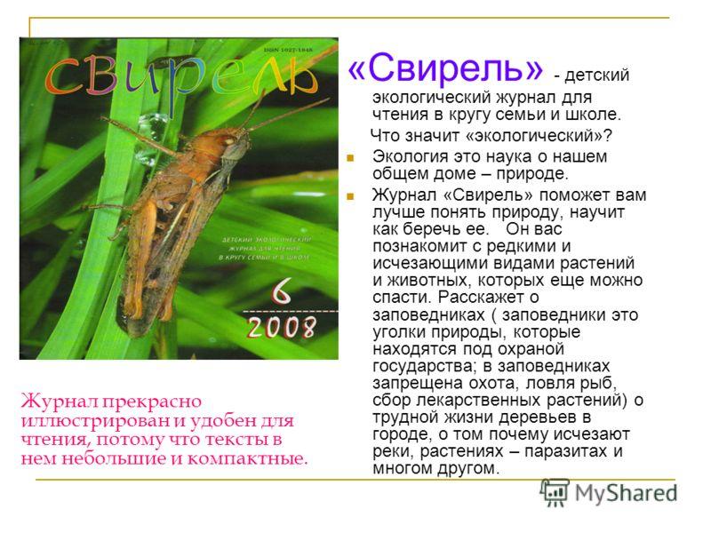 «Свирель» - детский экологический журнал для чтения в кругу семьи и школе. Что значит «экологический»? Экология это наука о нашем общем доме – природе. Журнал «Свирель» поможет вам лучше понять природу, научит как беречь ее. Он вас познакомит с редки
