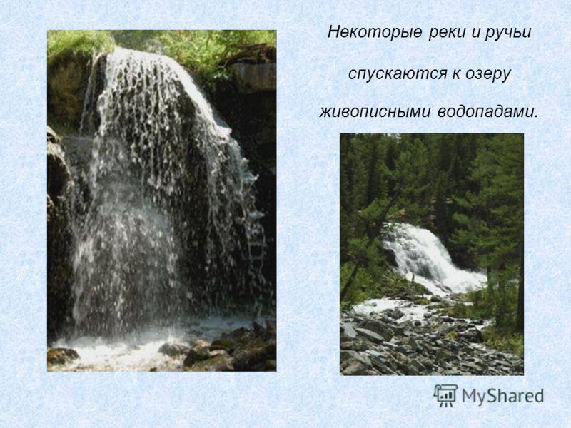 Некоторые реки и ручьи спускаются к озеру живописными водопадами.