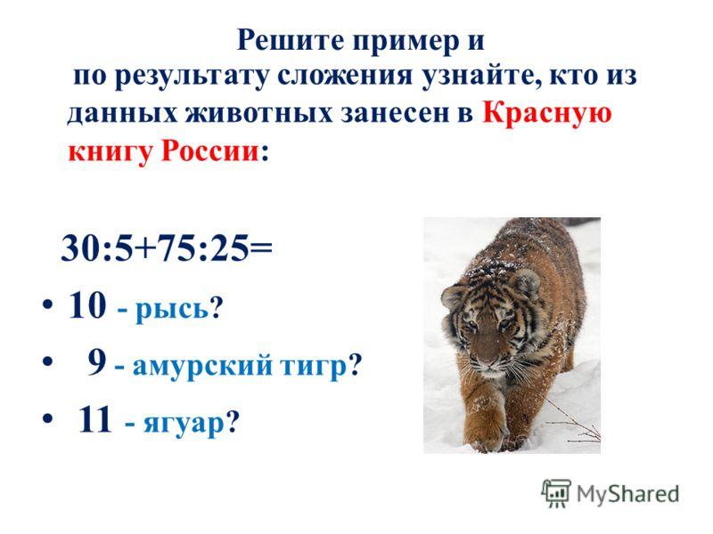 Решите пример и по результату сложения узнайте, кто из данных животных занесен в Красную книгу России: 30:5+75:25= 10 - рысь? 9 - амурский тигр? 11 - ягуар?