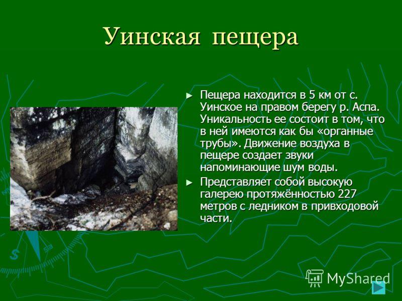 Уинская пещера Пещера находится в 5 км от с. Уинское на правом берегу р. Аспа. Уникальность ее состоит в том, что в ней имеются как бы «органные трубы». Движение воздуха в пещере создает звуки напоминающие шум воды. Представляет собой высокую галерею