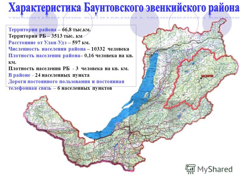 Территория района – 66,8 тыс.км. Территория РБ – 3513 тыс. км Расстояние от Улан-Удэ – 597 км. Численность населения района – 10332 человека Плотность населения района– 0,16 человека на кв. км. Плотность населения РБ - 3 человека на кв. км. В районе