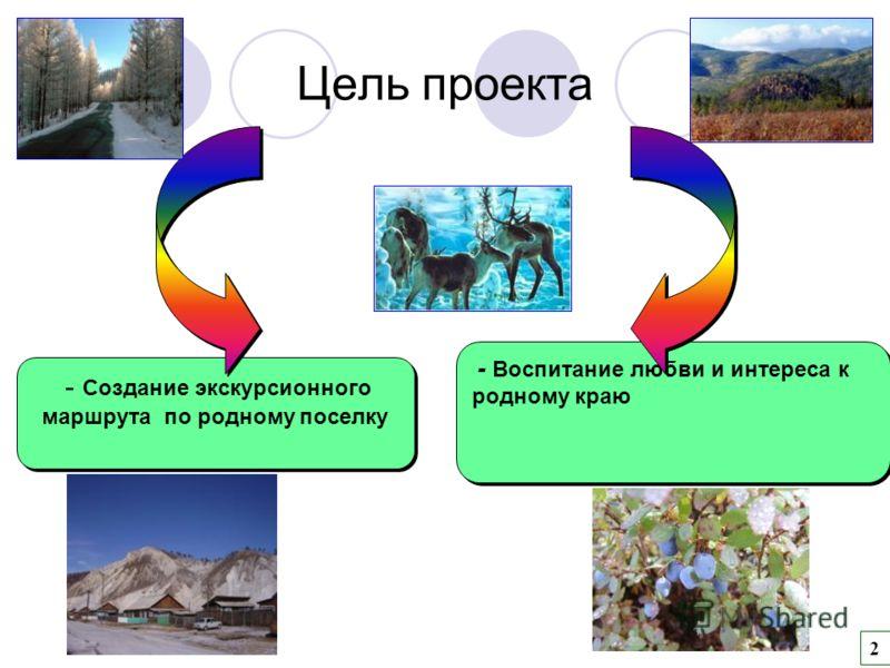 - Воспитание любви и интереса к родному краю - Создание экскурсионного маршрута по родному поселку 2 Цель проекта