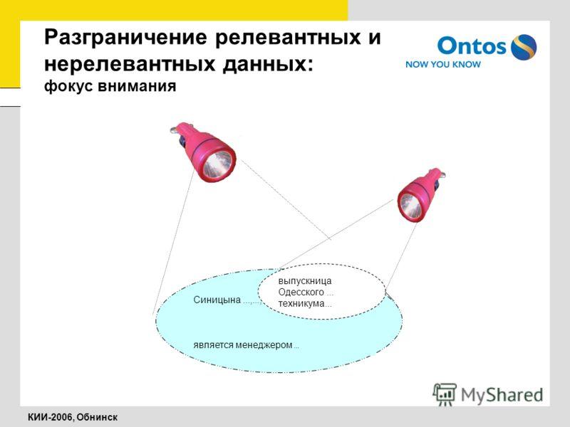 КИИ-2006, Обнинск Разграничение релевантных и нерелевантных данных: фокус внимания Синицына...,..., является менеджером... выпускница Одесского... техникума...