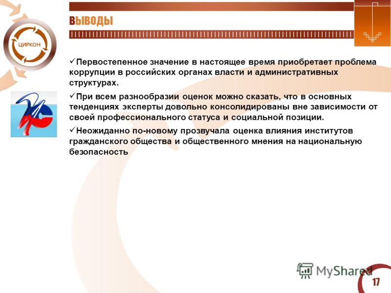 17 ВЫВОДЫ Первостепенное значение в настоящее время приобретает проблема коррупции в российских органах власти и административных структурах. При всем разнообразии оценок можно сказать, что в основных тенденциях эксперты довольно консолидированы вне