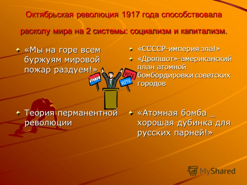 Октябрьская революция 1917 года способствовала расколу мира на 2 системы: социализм и капитализм. «Мы на горе всем буржуям мировой пожар раздуем!» «ССССР-империя зла!» «Дропшот»-американский план атомной бомбордировки советских городов Теория пермане