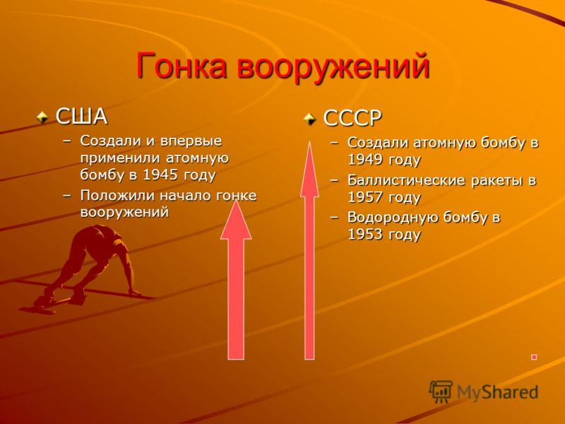 Гонка вооружений США –Создали и впервые применили атомную бомбу в 1945 году –Положили начало гонке вооружений СССР –Создали атомную бомбу в 1949 году –Баллистические ракеты в 1957 году –Водородную бомбу в 1953 году