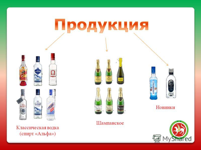 Классическая водка (спирт «Альфа») Шампанское Новинки