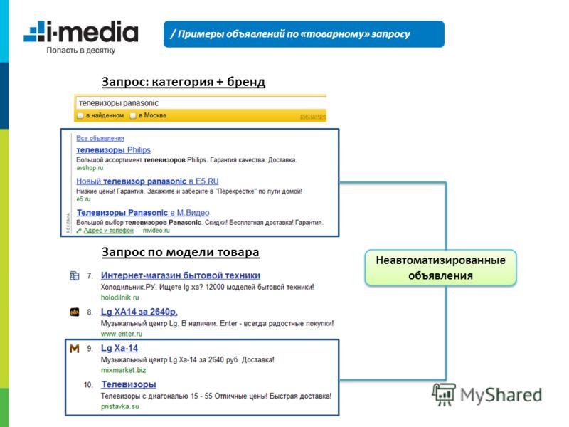 / Примеры объявлений по «товарному» запросу Неавтоматизированные объявления Запрос по модели товара Запрос: категория + бренд