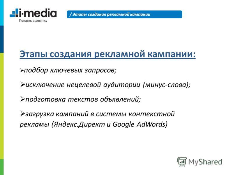 Этапы создания рекламной кампании: подбор ключевых запросов; исключение нецелевой аудитории (минус-слова); подготовка текстов объявлений; загрузка кампаний в системы контекстной рекламы (Яндекс.Директ и Google AdWords) / Этапы создания рекламной камп