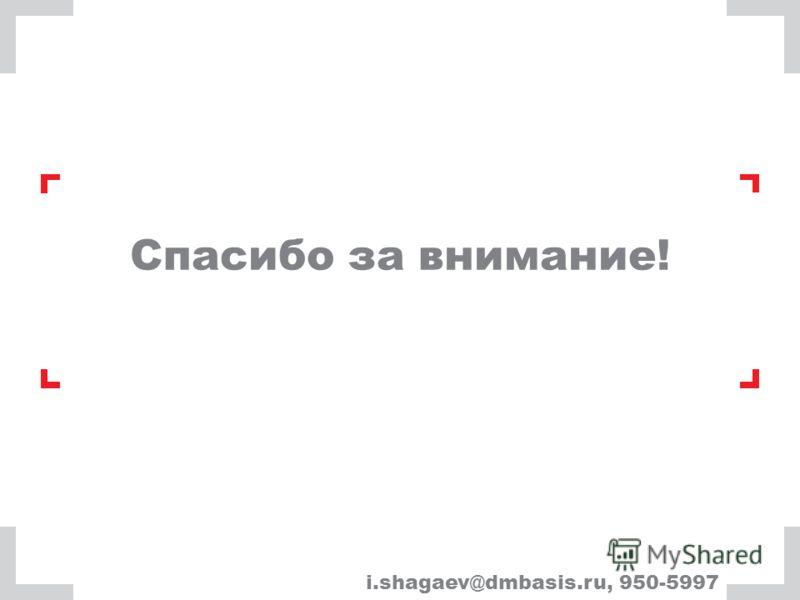 Спасибо за внимание! i.shagaev@dmbasis.ru, 950-5997