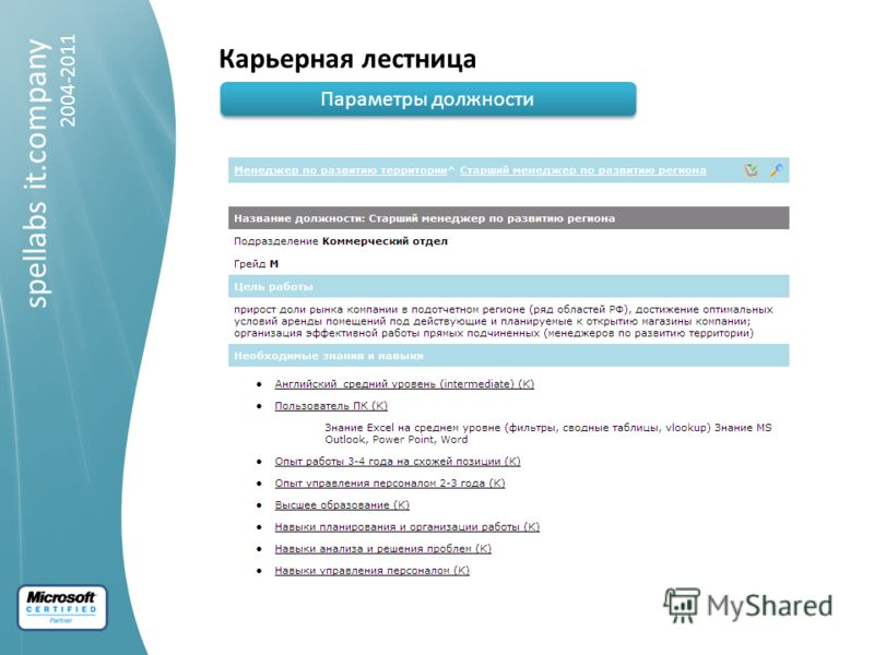 spellabs it.company 2004-2011 Карьерная лестница Параметры должности