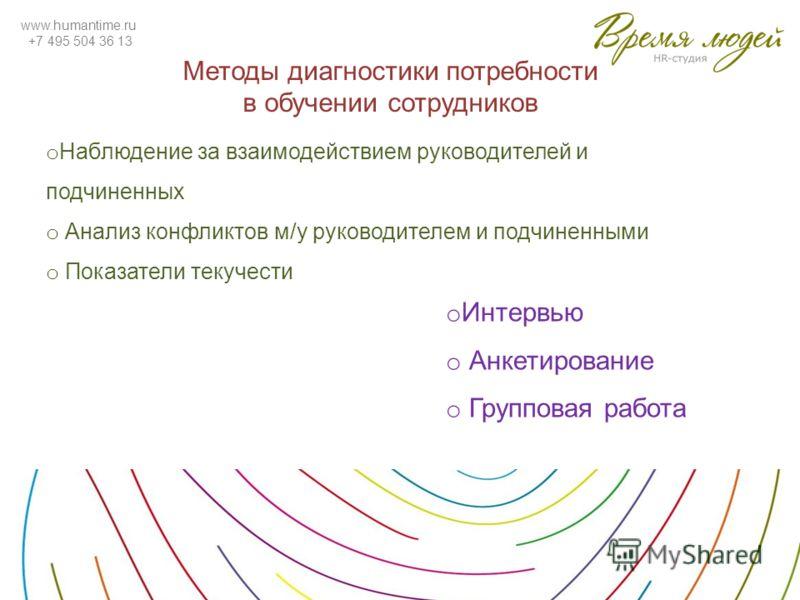 www.humantime.ru +7 495 504 36 13 Методы диагностики потребности в обучении сотрудников o Наблюдение за взаимодействием руководителей и подчиненных o Анализ конфликтов м/у руководителем и подчиненными o Показатели текучести o Интервью o Анкетирование