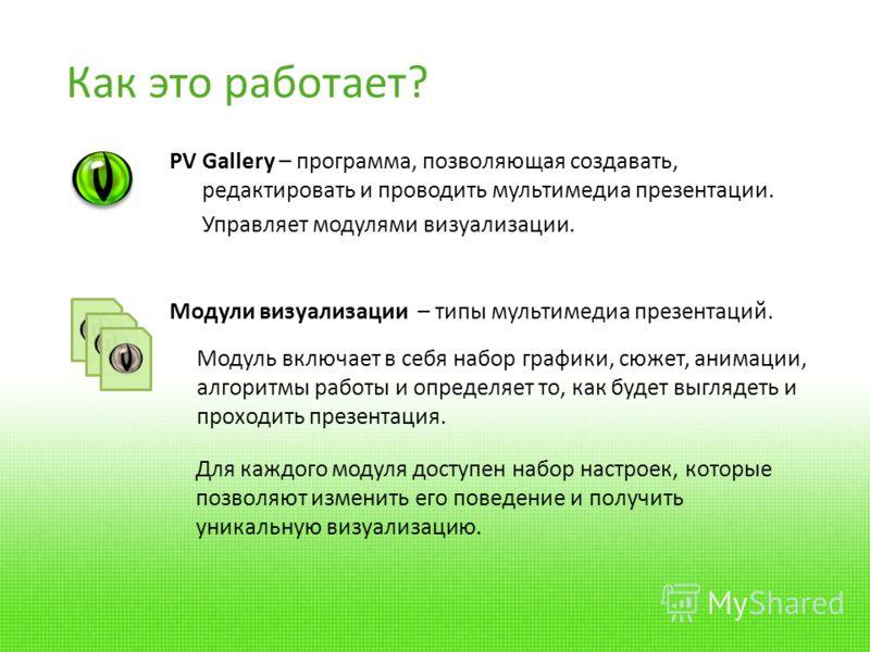 Как это работает? PV Gallery – программа, позволяющая создавать, редактировать и проводить мультимедиа презентации. Управляет модулями визуализации. Модули визуализации – типы мультимедиа презентаций. Для каждого модуля доступен набор настроек, котор