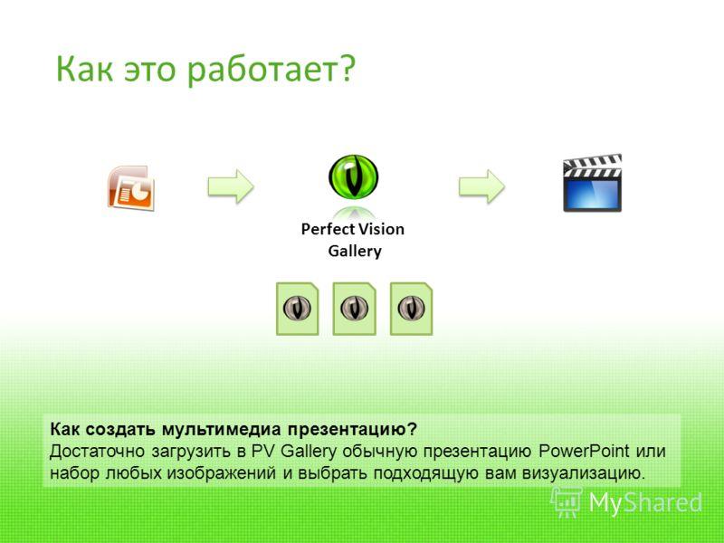 Perfect Vision Gallery Как это работает? Как создать мультимедиа презентацию? Достаточно загрузить в PV Gallery обычную презентацию PowerPoint или набор любых изображений и выбрать подходящую вам визуализацию.