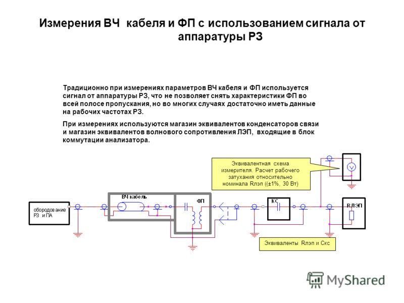 Измерения ВЧ кабеля и ФП с использованием сигнала от аппаратуры РЗ Традиционно при измерениях параметров ВЧ кабеля и ФП используется сигнал от аппаратуры РЗ, что не позволяет снять характеристики ФП во всей полосе пропускания, но во многих случаях до