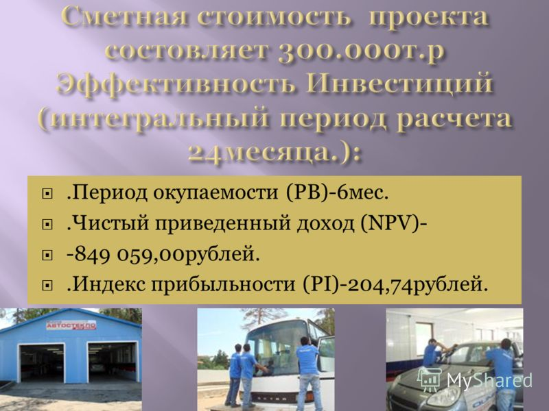 .Период окупаемости (РВ)-6мес..Чистый приведенный доход (NPV)- -849 059,00рублей..Индекс прибыльности (PI)-204,74рублей.