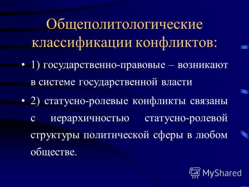 Общеполитологические классификации конфликтов: 1) государственно-правовые – возникают в системе государственной власти 2) статусно-ролевые конфликты связаны с иерархичностью статусно-ролевой структуры политической сферы в любом обществе.
