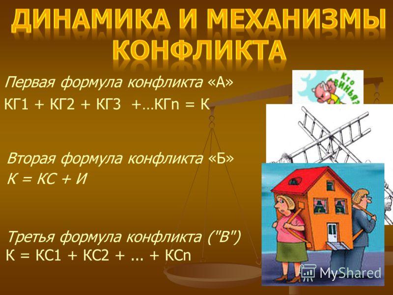 Первая формула конфликта «А» КГ1 + КГ2 + КГ3 +…КГn = К Вторая формула конфликта «Б» К = КС + И Третья формула конфликта (В) К = КС1 + КС2 +... + КСn