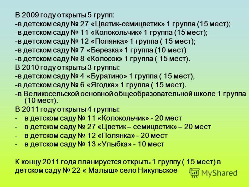 В 2009 году открыты 5 групп: -в детском саду 27 «Цветик-семицветик» 1 группа (15 мест); -в детском саду 11 «Колокольчик» 1 группа (15 мест); -в детском саду 12 «Полянка» 1 группа ( 15 мест); -в детском саду 7 «Березка» 1 группа (10 мест) -в детском с