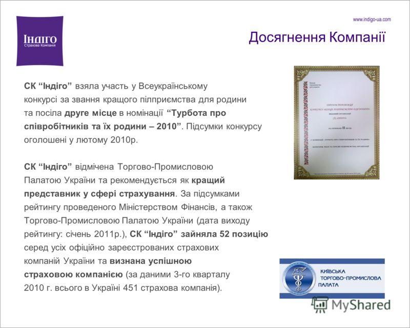 Досягнення Компанії СК Індіго взяла участь у Всеукраїнському конкурсі за звання кращого пілприємства для родини та посіла друге місце в номінації Турбота про співробітників та їх родини – 2010. Підсумки конкурсу оголошені у лютому 2010р. СК Індіго ві