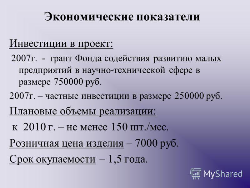 Экономические показатели Инвестиции в проект: 2007г. - грант Фонда содействия развитию малых предприятий в научно-технической сфере в размере 750000 руб. 2007г. – частные инвестиции в размере 250000 руб. Плановые объемы реализации: к 2010 г. – не мен