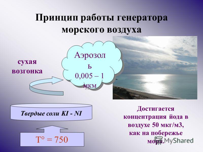 Принцип работы генератора морского воздуха Твердые соли KI - NI Аэрозол ь 0,005 – 1 мкм Аэрозол ь 0,005 – 1 мкм T° = 750 сухая возгонка Достигается концентрация йода в воздухе 50 мкг/м3, как на побережье моря.