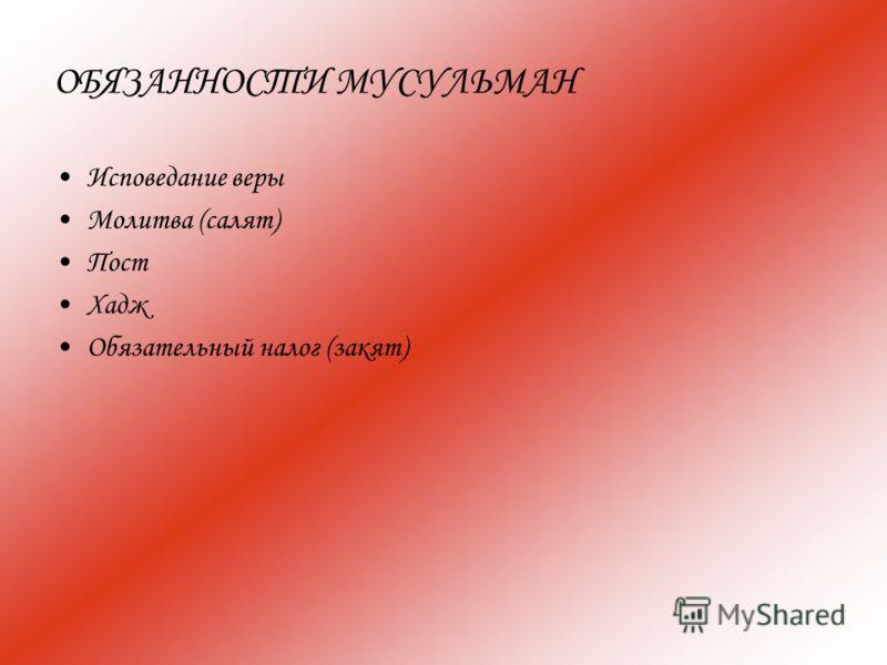 ОБЯЗАННОСТИ МУСУЛЬМАН Исповедание веры Молитва (салят) Пост Хадж Обязательный налог (закят)